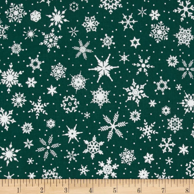 White Christmas Snowflake Green