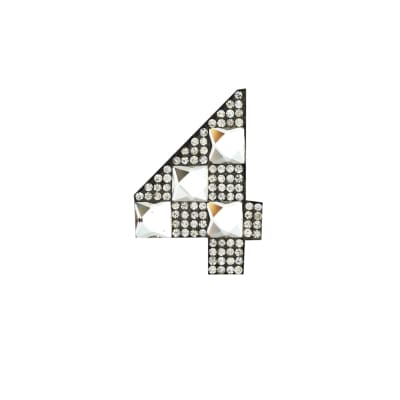 "Rhinestone Applique Number 4 2 1/4 x 1 3/4"" Crystal"