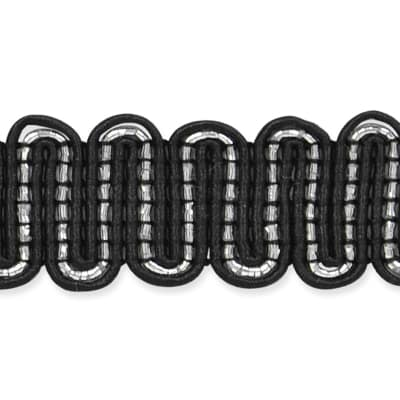 "3/4"" Luna Metallic Braid Trim Roll Black/Silver"