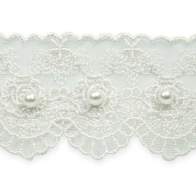 "1 5/8"" Vintage Roses with Pearl Lace Trim Off-White"