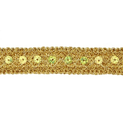 "3/4"" Adriana Metallic Sequin Braid Trim Roll Gold"