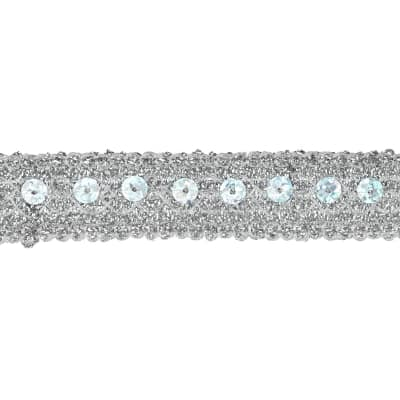 "3/4"" Adriana Metallic Sequin Braid Trim Roll Silver"