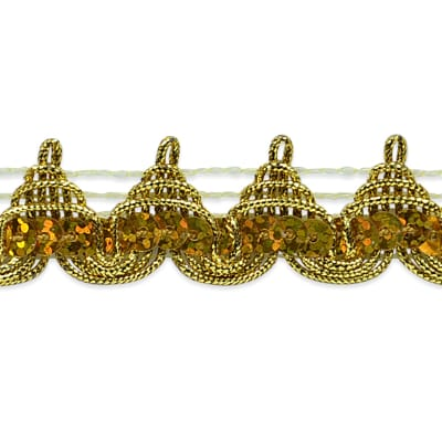 "3/4"" Averil Pointed Sequin Braid Trim Roll Gold"