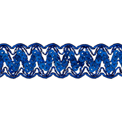 "1 1/4"" Nikki Sequin Metallic Braid Trim Roll Royal Blue"