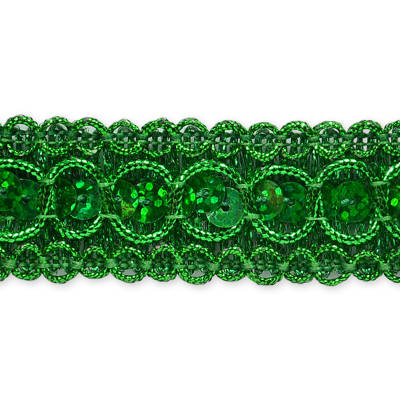 "7/8"" Trish Sequin Metallic Braid Trim Roll Green"