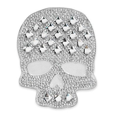 "4 1/8"" x 3 1/8"" Iron On Rhinestone Skull Applique"