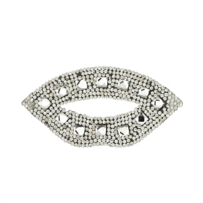 "3 1/2"" x 1 3/4"" Iron On Rhinestone Lips Applique"