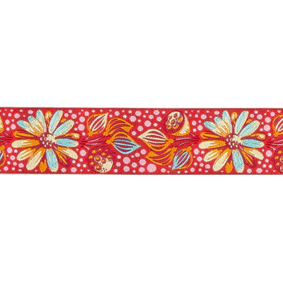 "1 1/2"" Tula Pink Strawberry Sprout Ribbon Dark Pink"