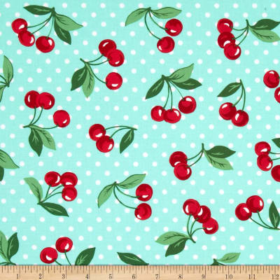 Michael Miller Cherry Dot Mint