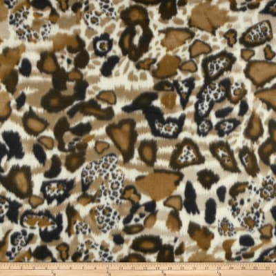 Skin Fleece Print Animal Camel/Cream/Black