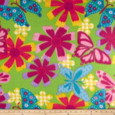 Novelty Fleece Butterfly Flowers Lime/Purple/Hot Pink