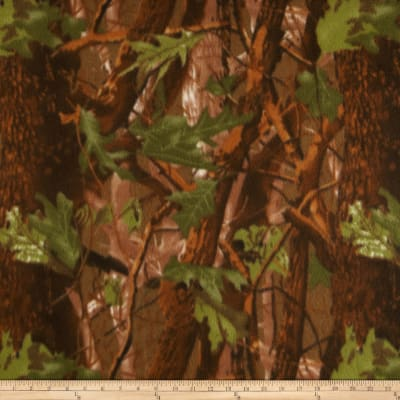 Camouflage Fleece Print Olive/Brown/Copper