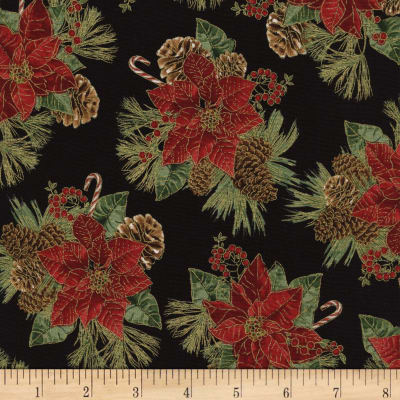 Timeless Treasures Country Christmas Metallic Poinsettias Black