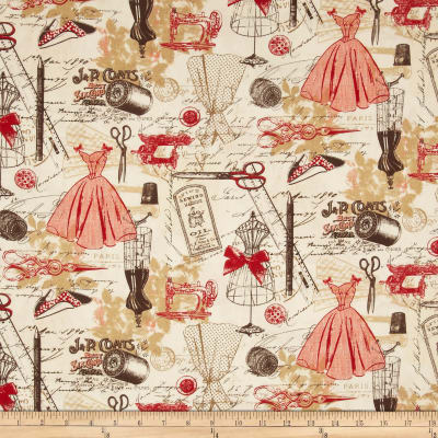 Timeless Treasures Vintage Sewing Red