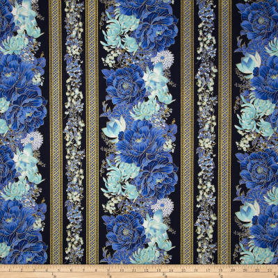 Timeless Treasures Imperial Garden Metallic Floral Border Navy