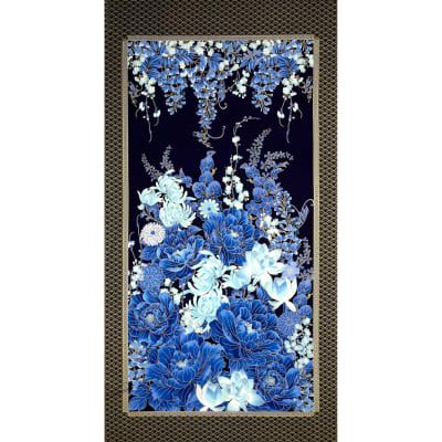 Timeless Treasures Imperial Garden 24 In. Metallic Floral Panel Navy