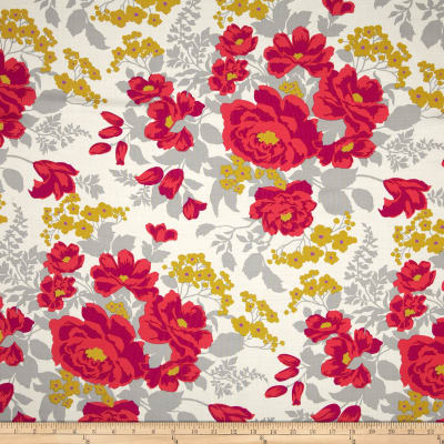 Joel Dewberry Flora Rayon Challis Rose Bouquet Poppy