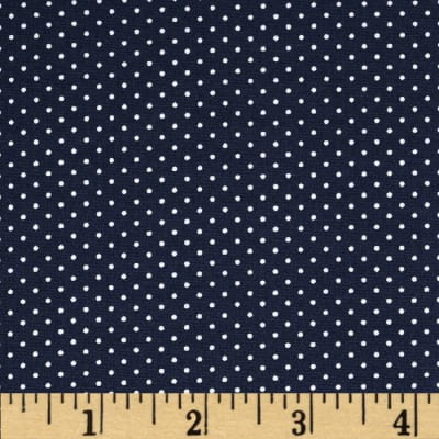 Morocco Blues Stretch Poplin Pindot Dark Blue/White