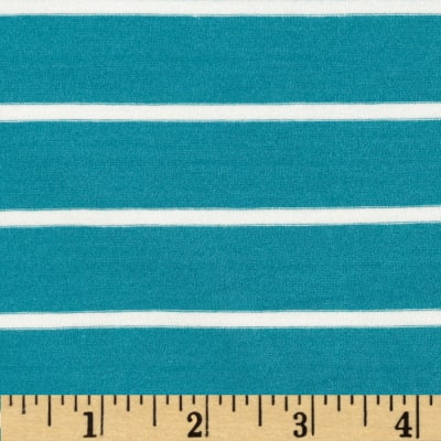 Telio Stretch Bamboo Mariner Jersey Knit Stripe Turquoise/Off White