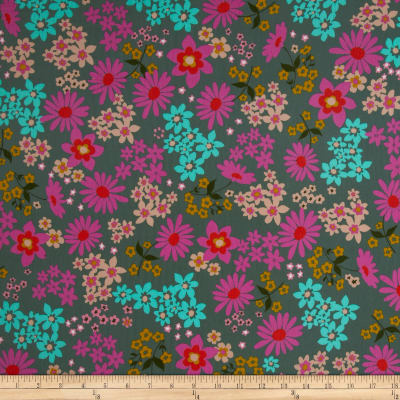 Cotton + Steel Playful Lawn Vintage Floral Teal