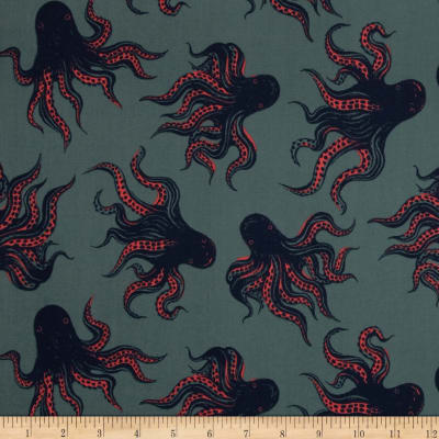 Cotton & Steel Tokyo Train Ride Lawn Octopus Teal