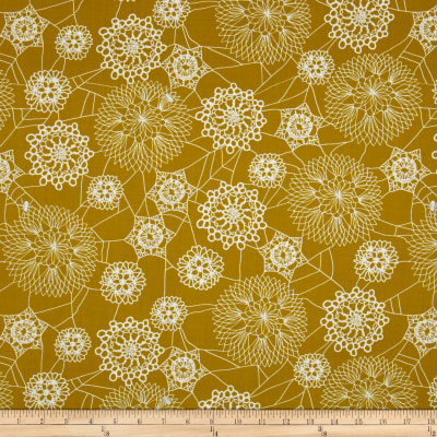 Cotton + Steel Spellbound Metallic Floral Web Mustard