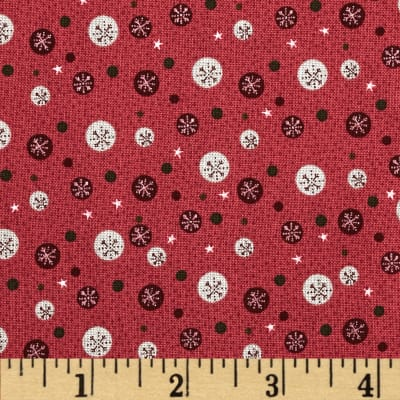 Winter Village Snowflake Dots Raspberry