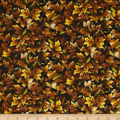 Autumn Romance Packed Leaves Gold