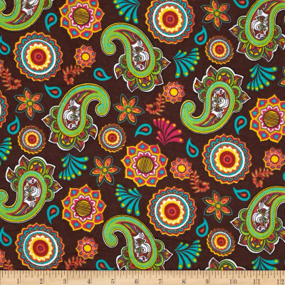 Ombu Flannel Floral Paisley Brown