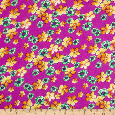 Rayon Challis Floral Green/Gold/Pink