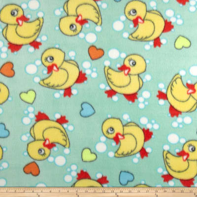 Fleece Print Ducks & Bubbles Mint