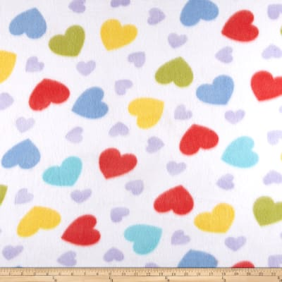 Fleece Print Happy Heart White