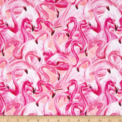 Timeless Treasures Packed Flamingos Pink