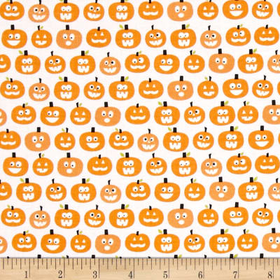 Riley Blake Halloween Magic Glow in the Dark Pumpkins White