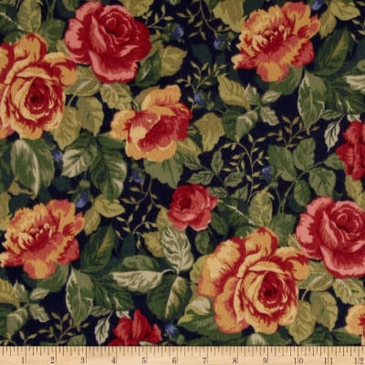 Timeless Treasures Tailormade Flannel Floral Navy