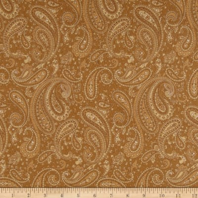 Timeless Treasures Tailormade Flannel Paisley Gold