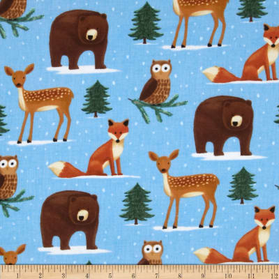 Timeless Treasures Flannel Forest Animals Blue