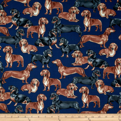 Timeless Treasures Dachshunds Navy