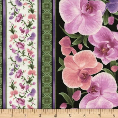 Timeless Treasures Orchids Orchid 11 In. Border Stripe Multi