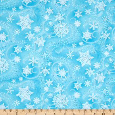 Timeless Treasures Snow Princess Metallic Snowflakes Turquoise