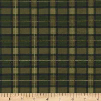Timeless Treasures Golden Harvest Metallic Plaid Green