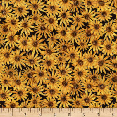 Timeless Treasures Golden Harvest Metallic Daisies Gold