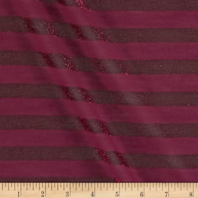 Tissue Lurex Jersey Knit Stripes Magenta