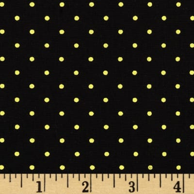 Stretch Poplin Pin Dots Black/Yellow