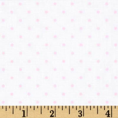 Stretch Poplin Dots White/Pink