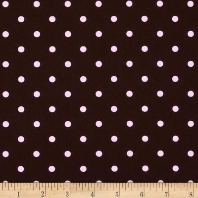Stretch Poplin Dots Brown/Light Pink