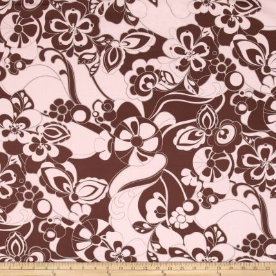 Stretch Poplin Floral Chocolate/Pink