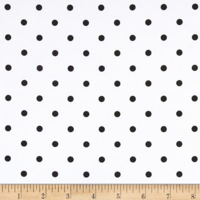 Stretch Twill Dots Off White/Black