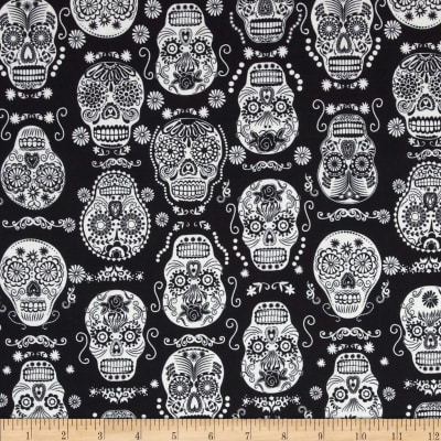Timeless Treasures Glow in the Dark Skulls Black