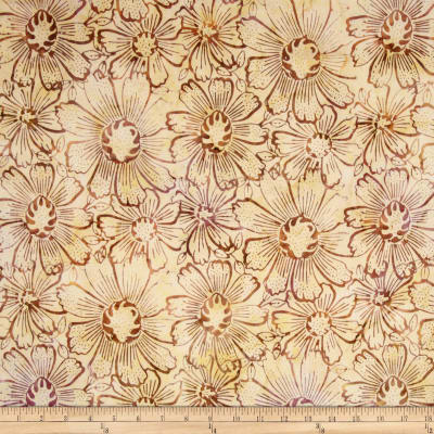 Timeless Treasures Tonga Batik Fig Gerber Daisy Maple